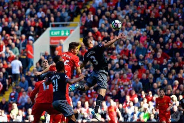 LIVERPOOL, ENGLAND - Sunday, May 7, 2017: Liverpool's Marko Grujic sees his header miss against Southampton during the FA Premier League match at Anfield. (Pic by David Rawcliffe/Propaganda)
