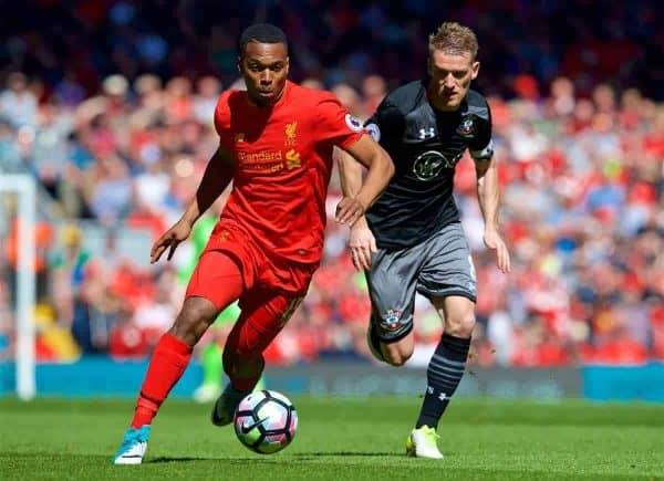 LIVERPOOL, ENGLAND - Sunday, May 7, 2017: Liverpool's Daniel Sturridge in action against Southampton during the FA Premier League match at Anfield. (Pic by David Rawcliffe/Propaganda)