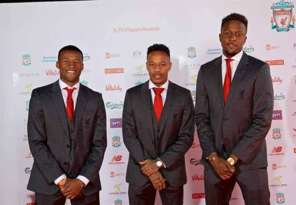 LIVERPOOL, ENGLAND - Tuesday, May 9, 2017: Liverpool's Georginio Wijnaldum, Nathaniel Clyne and Divock Origi arrive on the red carpet with their partners for the Liverpool FC Players' Awards 2017 at Anfield. (Pic by David Rawcliffe/Propaganda)