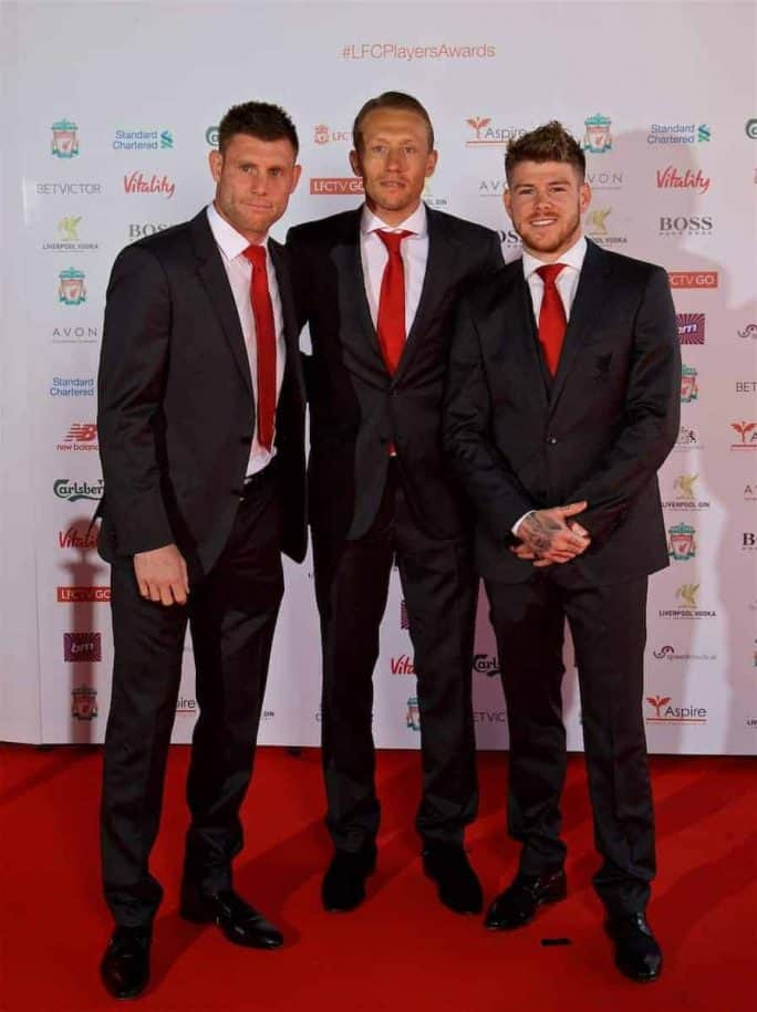 LIVERPOOL, ENGLAND - Tuesday, May 9, 2017: Liverpool's James Milner, Lucas Leiva and Alberto Moreno arrive on the red carpet with their partners for the Liverpool FC Players' Awards 2017 at Anfield. (Pic by David Rawcliffe/Propaganda)