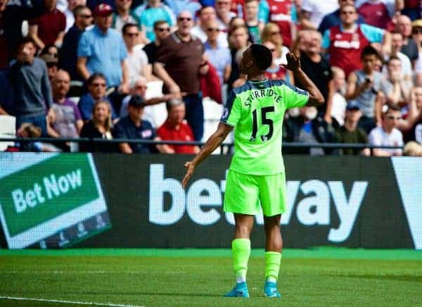 LONDON, ENGLAND - Sunday, May 14, 2017: Liverpool's Daniel Sturridge celebrates scoring the first goal against West Ham United during the FA Premier League match at the London Stadium. (Pic by David Rawcliffe/Propaganda)