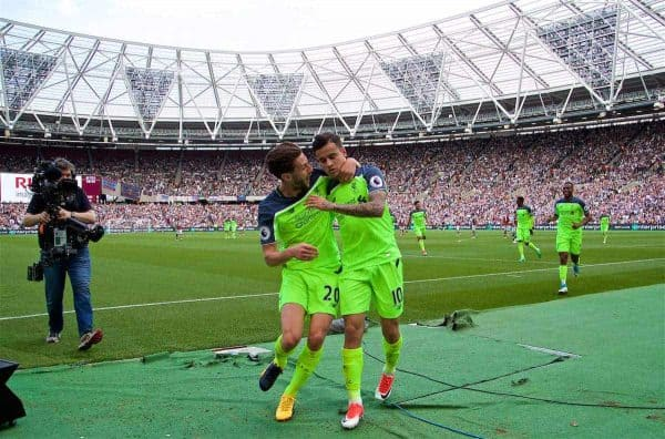 LONDON, ENGLAND - Sunday, May 14, 2017: Liverpool's Philippe Coutinho Correiacelebrates scoring the second goal against West Ham United with team-mate Adam Lallana [L] during the FA Premier League match at the London Stadium. (Pic by David Rawcliffe/Propaganda)