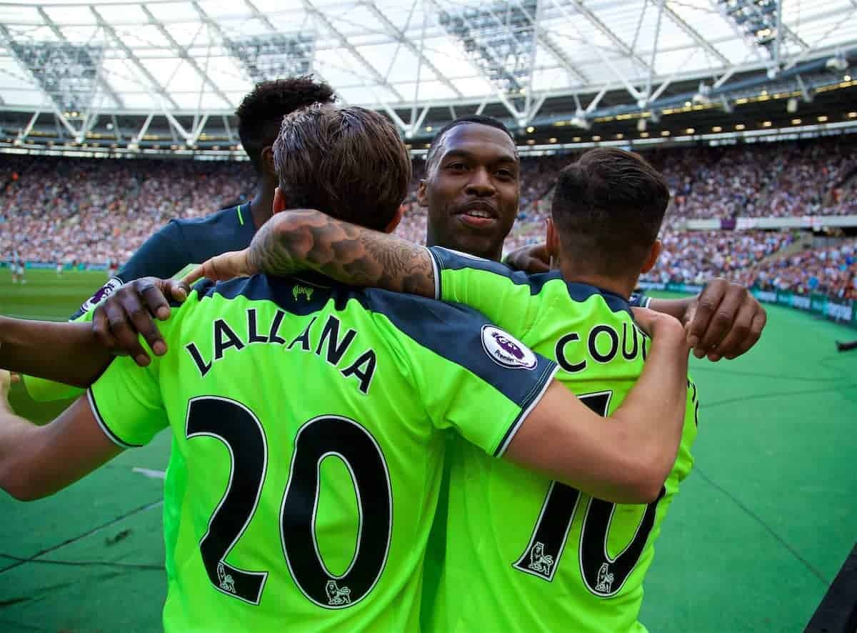 LONDON, ENGLAND - Sunday, May 14, 2017: Liverpool's Philippe Coutinho Correiacelebrates scoring the second goal against West Ham United with team-mates Adam Lallana and Daniel Sturridge during the FA Premier League match at the London Stadium. (Pic by David Rawcliffe/Propaganda)