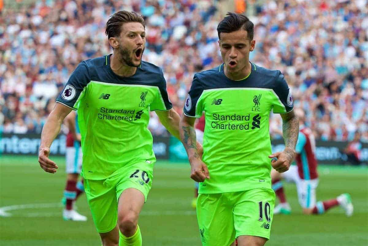 LONDON, ENGLAND - Sunday, May 14, 2017: Liverpool's Philippe Coutinho Correia celebrates scoring the second goal against West Ham United with team-mate Adam Lallana [L] during the FA Premier League match at the London Stadium. (Pic by David Rawcliffe/Propaganda)