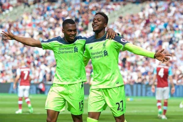 LONDON, ENGLAND - Sunday, May 14, 2017: Liverpool's Divock Origi celebrates scoring the fourth goal against West Ham United with team-mate Daniel Sturridge [L] during the FA Premier League match at the London Stadium. (Pic by David Rawcliffe/Propaganda)