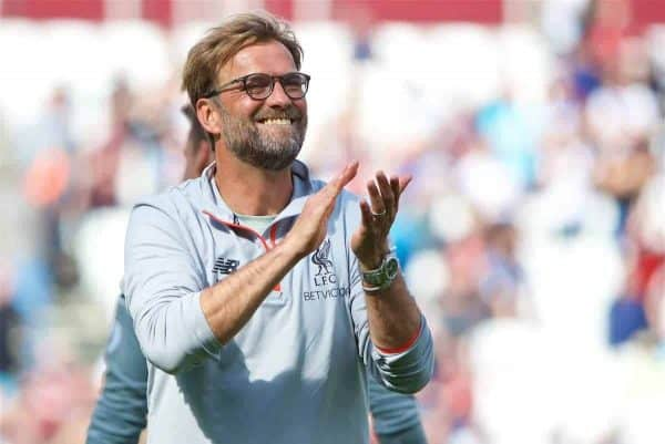 LONDON, ENGLAND - Sunday, May 14, 2017: Liverpool's manager Jürgen Klopp celebrates after his side's 4-0 victory over West Ham United during the FA Premier League match at the London Stadium. (Pic by David Rawcliffe/Propaganda)
