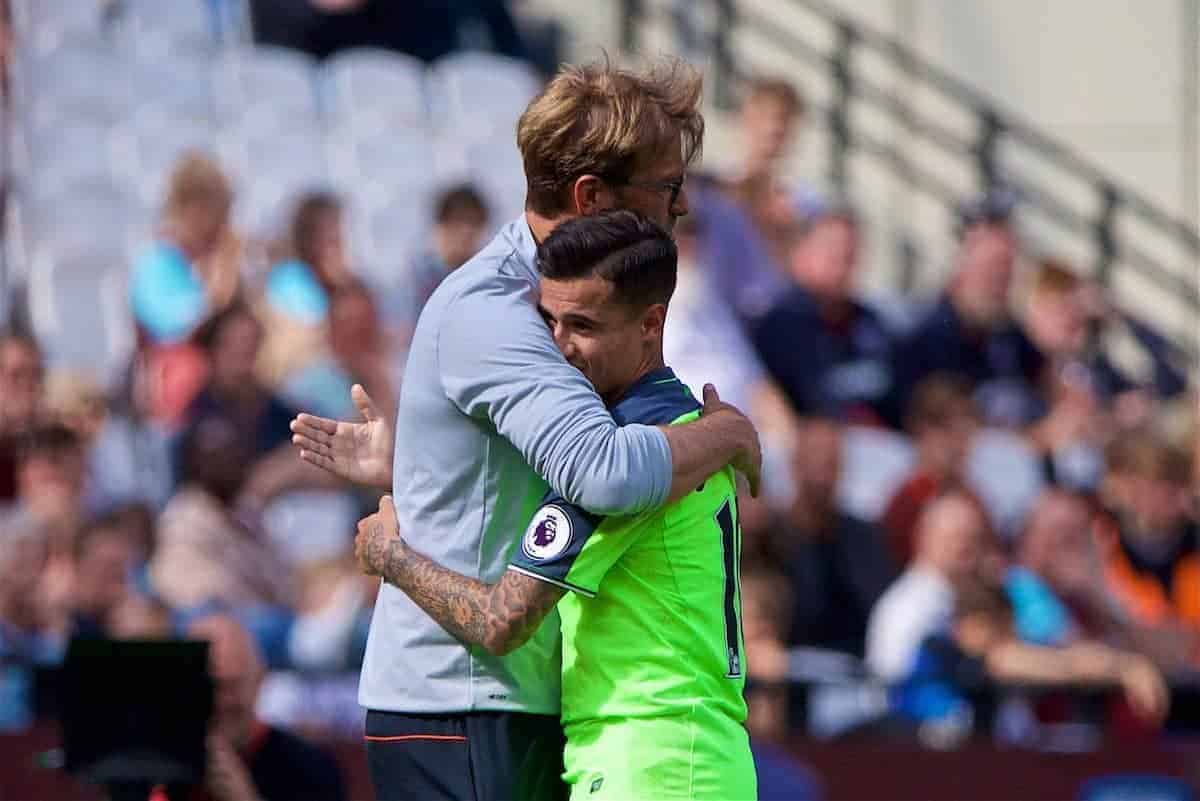 LONDON, ENGLAND - Sunday, May 14, 2017: Liverpool's manager Jürgen Klopp embraces two-goal hero Philippe Coutinho Correia after the 4-0 victory over West Ham United during the FA Premier League match at the London Stadium. (Pic by David Rawcliffe/Propaganda)