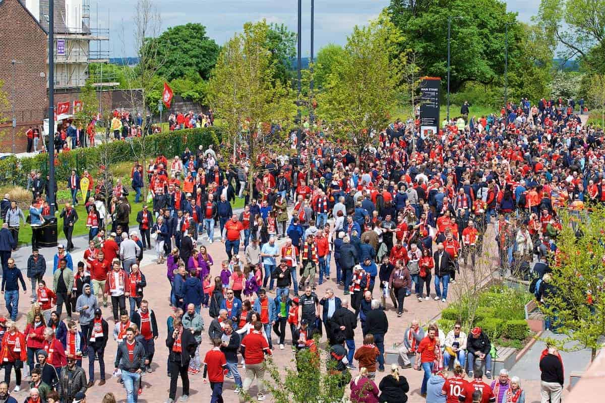 LIVERPOOL, ENGLAND - Sunday, May 21, 2017: Liverpool supporters outside Anfield ahead of the FA Premier League match between Liverpool and Middlesbrough. (Pic by David Rawcliffe/Propaganda)