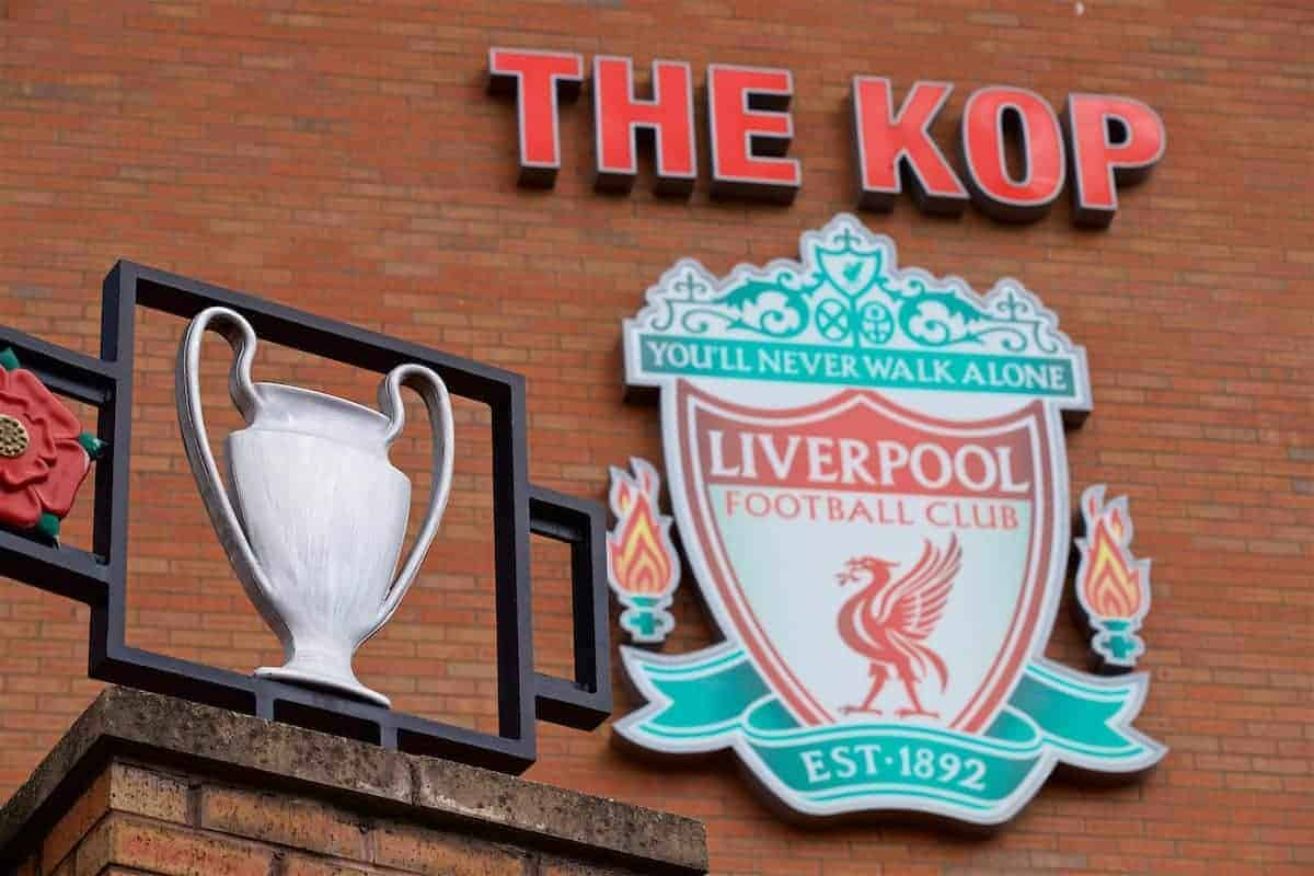 LIVERPOOL, ENGLAND - Sunday, May 21, 2017: A replica European Cup on the Paisley gates ion front of the Liverpool club crest on the Spion Kop as the Reds take on Middlesbrough to win a place in the UEFA Champions League, before the FA Premier League match at Anfield. (Pic by David Rawcliffe/Propaganda)