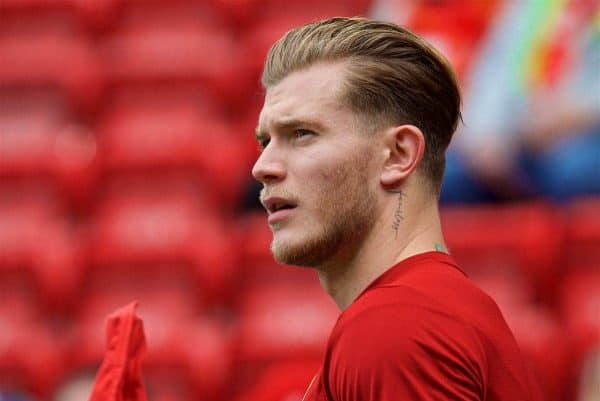 LIVERPOOL, ENGLAND - Sunday, May 21, 2017: Liverpool's substitute goalkeeper Loris Karius warms-up wearing the new 2017-18 training kit, before the FA Premier League match against Middlesbrough at Anfield. (Pic by David Rawcliffe/Propaganda)