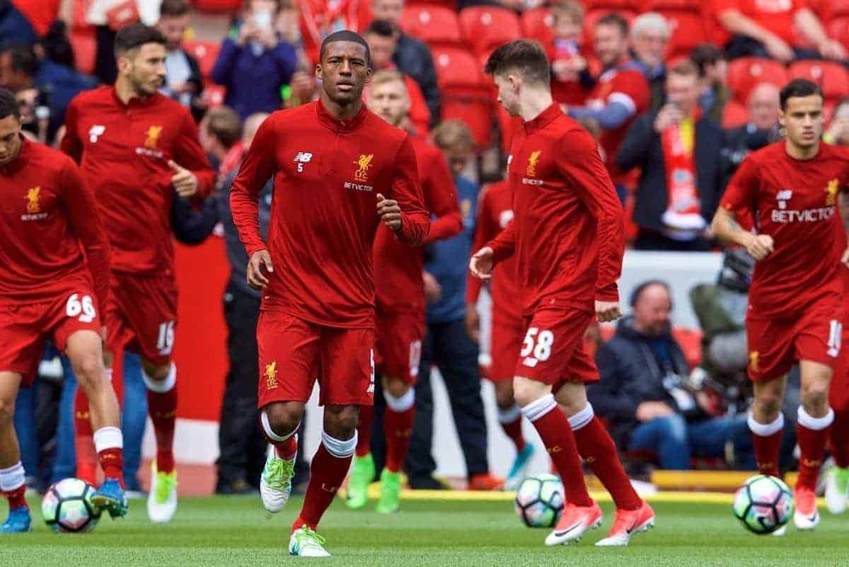 LIVERPOOL, ENGLAND - Sunday, May 21, 2017: Liverpool's Georginio Wijnaldum warms-up wearing the new 2017-18 training kit, before the FA Premier League match against Middlesbrough at Anfield. (Pic by David Rawcliffe/Propaganda)
