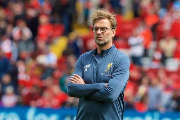LIVERPOOL, ENGLAND - Sunday, May 21, 2017: Liverpool's manager Jürgen Klopp wearing the new 2017-18 training kit, before the FA Premier League match against Middlesbrough at Anfield. (Pic by David Rawcliffe/Propaganda)