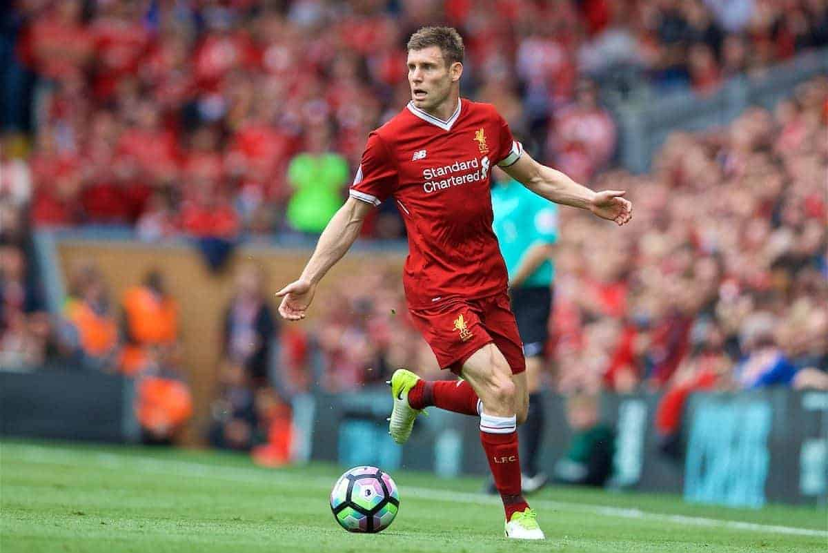 LIVERPOOL, ENGLAND - Sunday, May 21, 2017: Liverpool's James Milner in action against Middlesbrough during the FA Premier League match at Anfield. (Pic by David Rawcliffe/Propaganda)