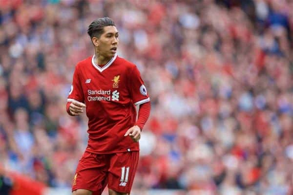 LIVERPOOL, ENGLAND - Sunday, May 21, 2017: Liverpool's Roberto Firmino in action against Middlesbrough during the FA Premier League match at Anfield. (Pic by David Rawcliffe/Propaganda)