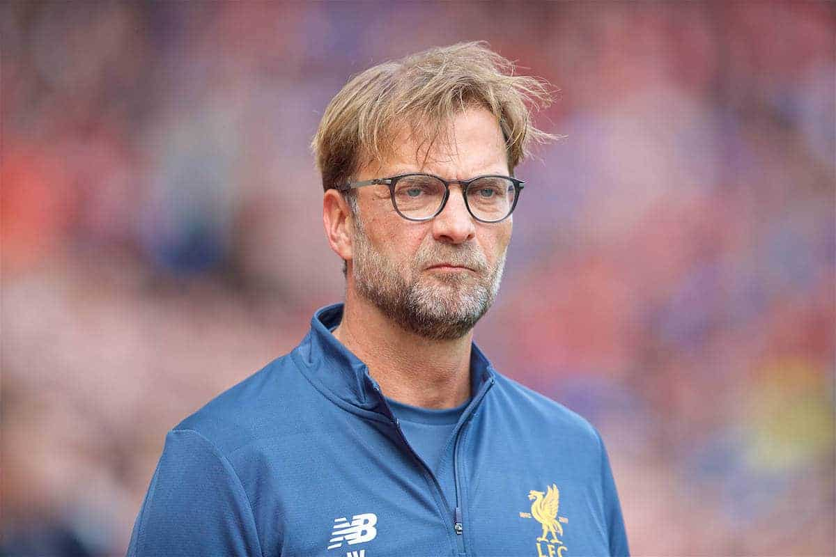 LIVERPOOL, ENGLAND - Sunday, May 21, 2017: Liverpool's manager Jürgen Klopp before the FA Premier League match against Middlesbrough at Anfield. (Pic by David Rawcliffe/Propaganda)