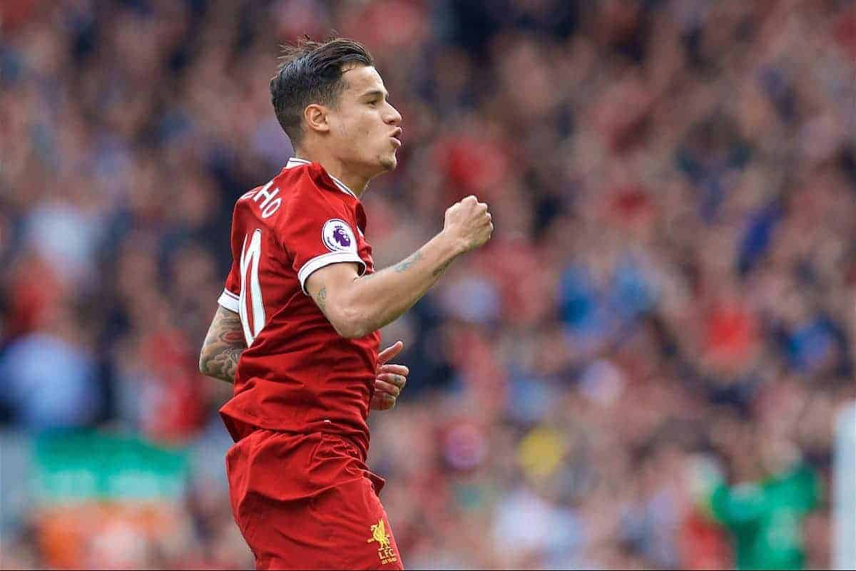 LIVERPOOL, ENGLAND - Sunday, May 21, 2017: Liverpool's Philippe Coutinho Correia scores the second goal against Middlesbrough during the FA Premier League match at Anfield. (Pic by David Rawcliffe/Propaganda)