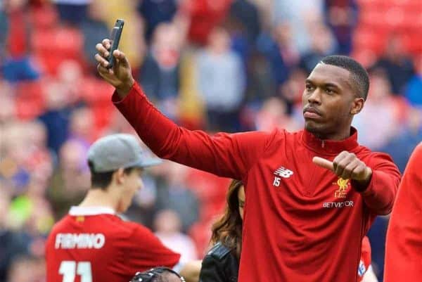 LIVERPOOL, ENGLAND - Sunday, May 21, 2017: Liverpool's Daniel Sturridge waves to the supporters after the 3-0 victory over Middlesbrough during the FA Premier League match at Anfield. (Pic by David Rawcliffe/Propaganda)