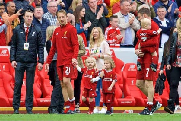 LIVERPOOL, ENGLAND - Sunday, May 21, 2017: Liverpool's Lucas Leiva waves wit his family after the 3-0 victory over Middlesbrough during the FA Premier League match at Anfield. (Pic by David Rawcliffe/Propaganda)