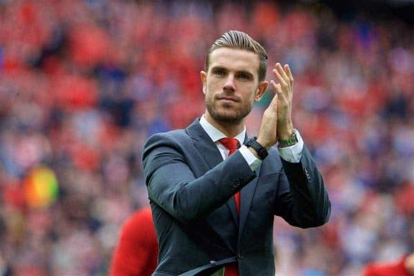 LIVERPOOL, ENGLAND - Sunday, May 21, 2017: Liverpool's captain Jordan Henderson waves to the supporters after the 3-0 victory over Middlesbrough during the FA Premier League match at Anfield. (Pic by David Rawcliffe/Propaganda)