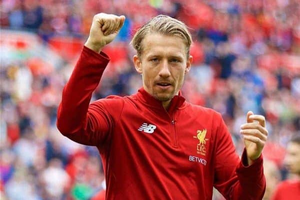 LIVERPOOL, ENGLAND - Sunday, May 21, 2017: Liverpool's Lucas Leiva salutes the supporters after the FA Premier League match against Middlesbrough at Anfield. (Pic by David Rawcliffe/Propaganda)
