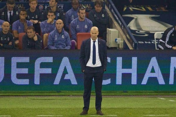 CARDIFF, WALES - Saturday, June 3, 2017: Real Madrid's head coach ZinÈdine Zidane during the UEFA Champions League Final between Juventus FC and Real Madrid CF at the Stadium of Wales. (Pic by David Rawcliffe/Propaganda)