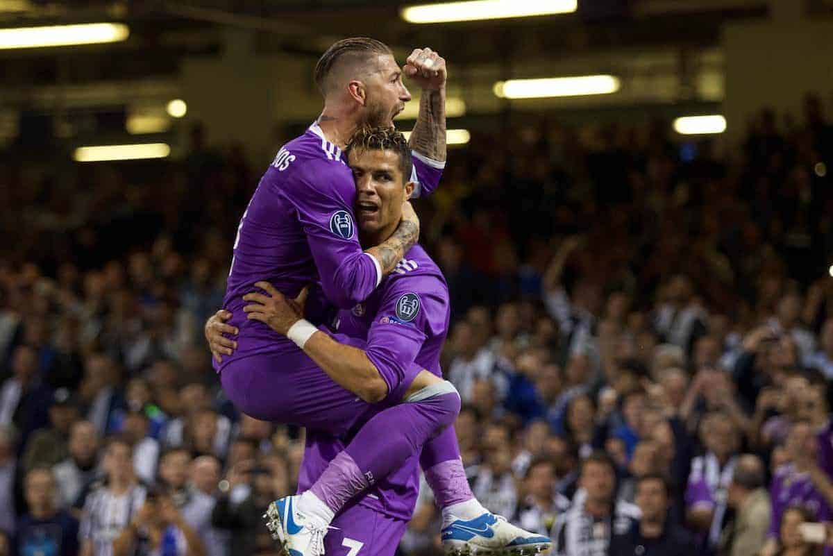 CARDIFF, WALES - Saturday, June 3, 2017: Real Madrid's Cristiano Ronaldo celebrates scoring the first goal with team-mate Sergio Ramos before the UEFA Champions League Final between Juventus FC and Real Madrid CF at the Stadium of Wales. (Pic by Don Jackson-Wyatt/Propaganda)