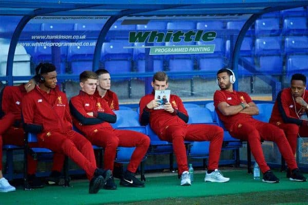 BIRKENHEAD, ENGLAND - Wednesday, July 12, 2017: Liverpool's Jon Flanagan reads the programme before a preseason friendly match against Tranmere Rovers at Prenton Park. (Pic by David Rawcliffe/Propaganda)