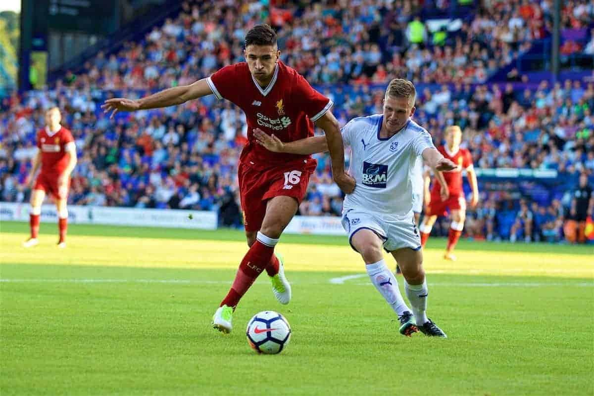 BIRKENHEAD, ENGLAND - Wednesday, July 12, 2017: Liverpool's Marko Grujic in action against Tranmere Rovers during a preseason friendly match at Prenton Park. (Pic by David Rawcliffe/Propaganda)