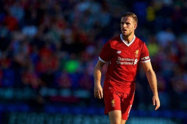 BIRKENHEAD, ENGLAND - Wednesday, July 12, 2017: Liverpool's captain Jordan Henderson in action against Tranmere Rovers during a preseason friendly match at Prenton Park. (Pic by David Rawcliffe/Propaganda)