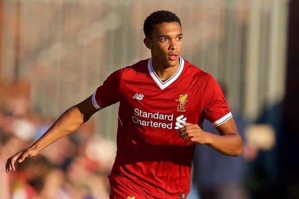 BIRKENHEAD, ENGLAND - Wednesday, July 12, 2017: Liverpool's Trent Alexander-Arnold in action against Tranmere Rovers during a preseason friendly match at Prenton Park. (Pic by David Rawcliffe/Propaganda)