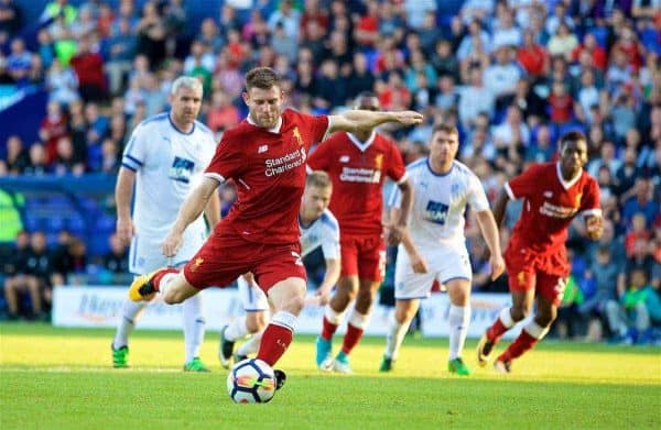 BIRKENHEAD, ENGLAND - Wednesday, July 12, 2017: Liverpool's James Milner scores the first goal against Tranmere Rovers from a penalty kick during a preseason friendly match at Prenton Park. (Pic by David Rawcliffe/Propaganda)