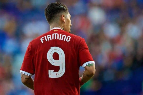 BIRKENHEAD, ENGLAND - Wednesday, July 12, 2017: Liverpool's new No. 9 Roberto Firmino in action against Tranmere Rovers during a preseason friendly match at Prenton Park. (Pic by David Rawcliffe/Propaganda)