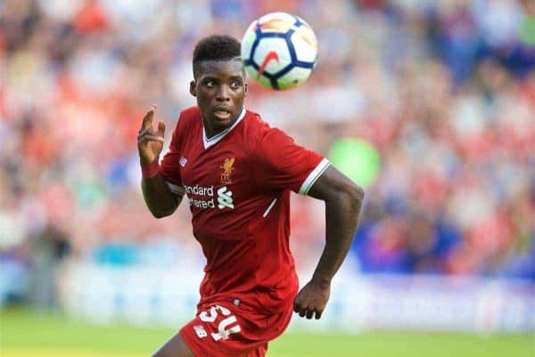 BIRKENHEAD, ENGLAND - Wednesday, July 12, 2017: Liverpool's Sheyi Ojo in action against Tranmere Rovers during a preseason friendly match at Prenton Park. (Pic by David Rawcliffe/Propaganda)