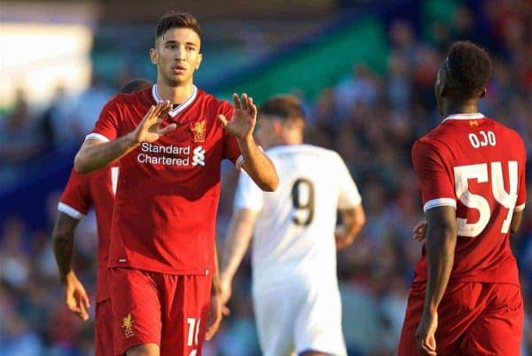 BIRKENHEAD, ENGLAND - Wednesday, July 12, 2017: Liverpool's Marko Grujic celebrates scoring the second goal against Tranmere Rovers during a preseason friendly match at Prenton Park. (Pic by David Rawcliffe/Propaganda)