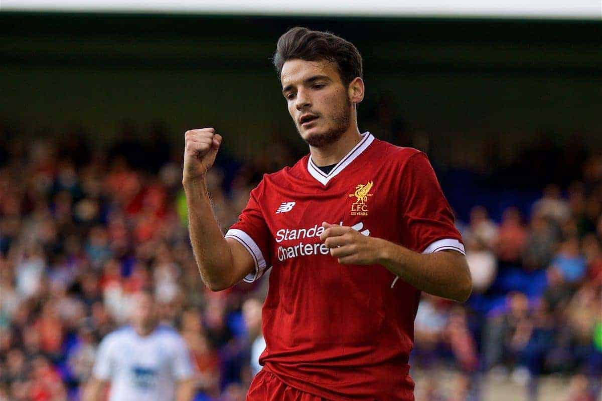 BIRKENHEAD, ENGLAND - Wednesday, July 12, 2017: Liverpool's Pedro Chirivella celebrates scoring the third goal against Tranmere Rovers during a preseason friendly match at Prenton Park. (Pic by David Rawcliffe/Propaganda)