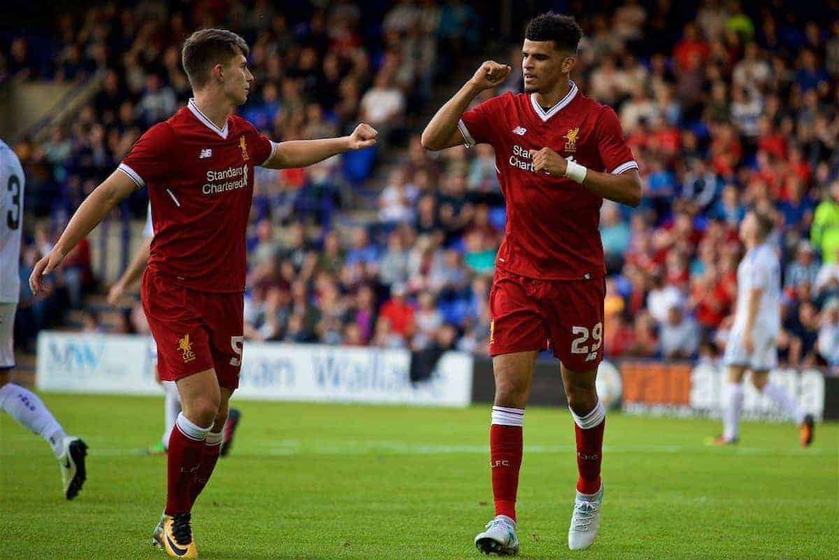 BIRKENHEAD, ENGLAND - Wednesday, July 12, 2017: Liverpool's Dominic Solanke [R] and Ben Woodburn celebrates their side's third goal against Tranmere Rovers during a preseason friendly match at Prenton Park. (Pic by David Rawcliffe/Propaganda)