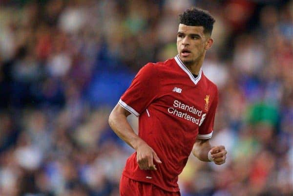 BIRKENHEAD, ENGLAND - Wednesday, July 12, 2017: Liverpool's Dominic Solanke in action against Tranmere Rovers during a preseason friendly match at Prenton Park. (Pic by David Rawcliffe/Propaganda)