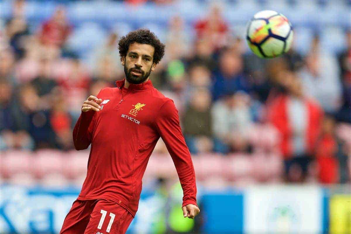 WIGAN, ENGLAND - Friday, July 14, 2017: Liverpool's new signing Mohamed Salah warms-up before a preseason friendly match against Wigan Athletic at the DW Stadium. (Pic by David Rawcliffe/Propaganda)