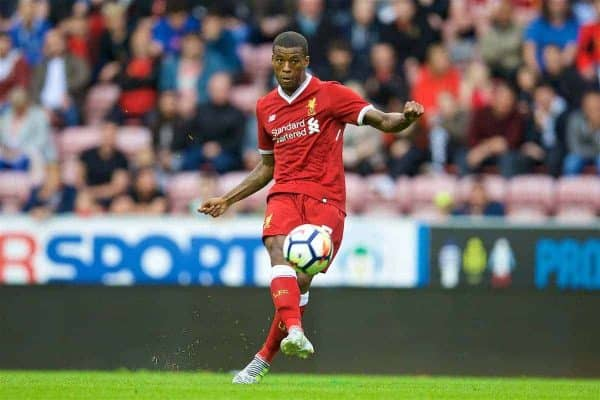 WIGAN, ENGLAND - Friday, July 14, 2017: Liverpool's Georginio Wijnaldum in action against Wigan Athletic during a preseason friendly match at the DW Stadium. (Pic by David Rawcliffe/Propaganda)