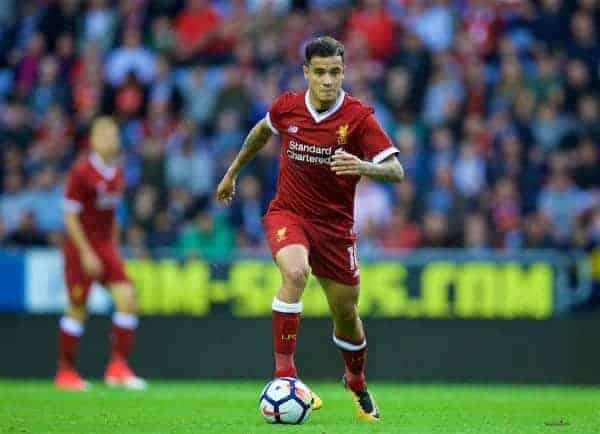 WIGAN, ENGLAND - Friday, July 14, 2017: Liverpool's Phil Coutinho in action against Wigan Athletic during a preseason friendly match at the DW Stadium. (Pic by David Rawcliffe/Propaganda)