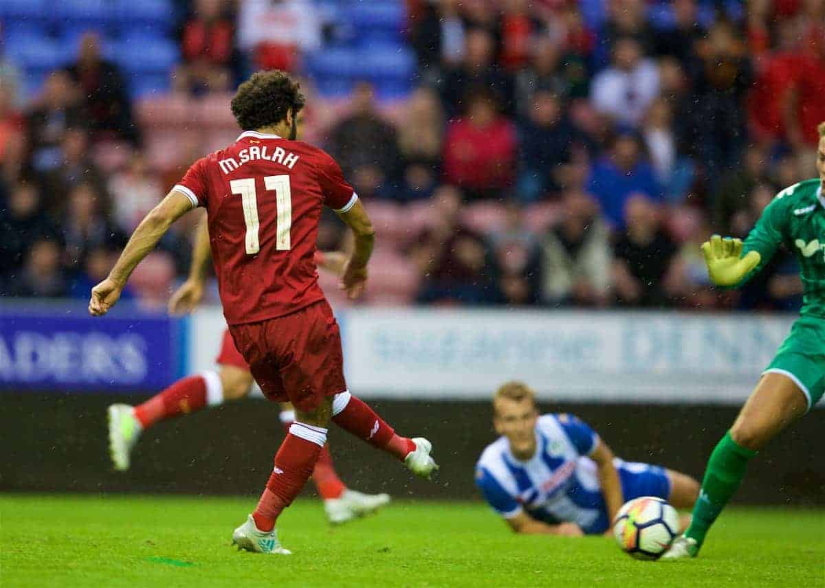WIGAN, ENGLAND - Friday, July 14, 2017: Liverpool's Mohamed Salah scores the first equalising goal against Wigan Athletic during a preseason friendly match at the DW Stadium. (Pic by David Rawcliffe/Propaganda)