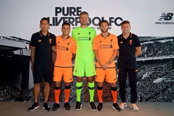 HONG KONG, CHINA - Monday, July 17, 2017: Liverpool's Roberto Firmino, Philippe Coutinho Correia, goalkeeper Simon Mignolet, Adam Lallana and James Milner show off the new 3rd kit at the Ritz-Carlton Hotel in Kowloon, Hong Kong, ahead of the Premier League Asia Trophy 2017. (Pic by David Rawcliffe/Propaganda)