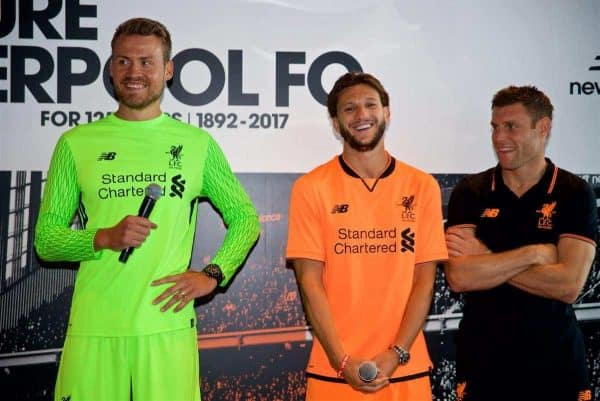 HONG KONG, CHINA - Monday, July 17, 2017: goalkeeper Simon Mignolet, Adam Lallana ands James Milner at the launch of the new Liverpool 3rd kit at the Ritz-Carlton Hotel in Kowloon, Hong Kong, ahead of the Premier League Asia Trophy 2017. (Pic by David Rawcliffe/Propaganda)
