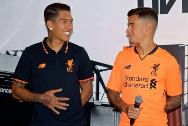 HONG KONG, CHINA - Monday, July 17, 2017: Roberto Firmino adn Philippe Coutinho Correia at the launch of the new Liverpool 3rd kit at the Ritz-Carlton Hotel in Kowloon, Hong Kong, ahead of the Premier League Asia Trophy 2017. (Pic by David Rawcliffe/Propaganda)