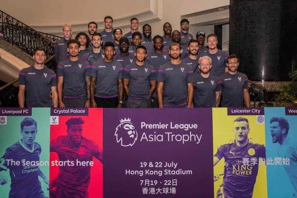 HONG KONG, CHINA - Monday, July 17, 2017: The Crystal Palace team arrive at the Grand Hyatt Hong Kong, ahead of the Premier League Asia Trophy 2017. (Pic by FA Premier League/Pool/Propaganda)