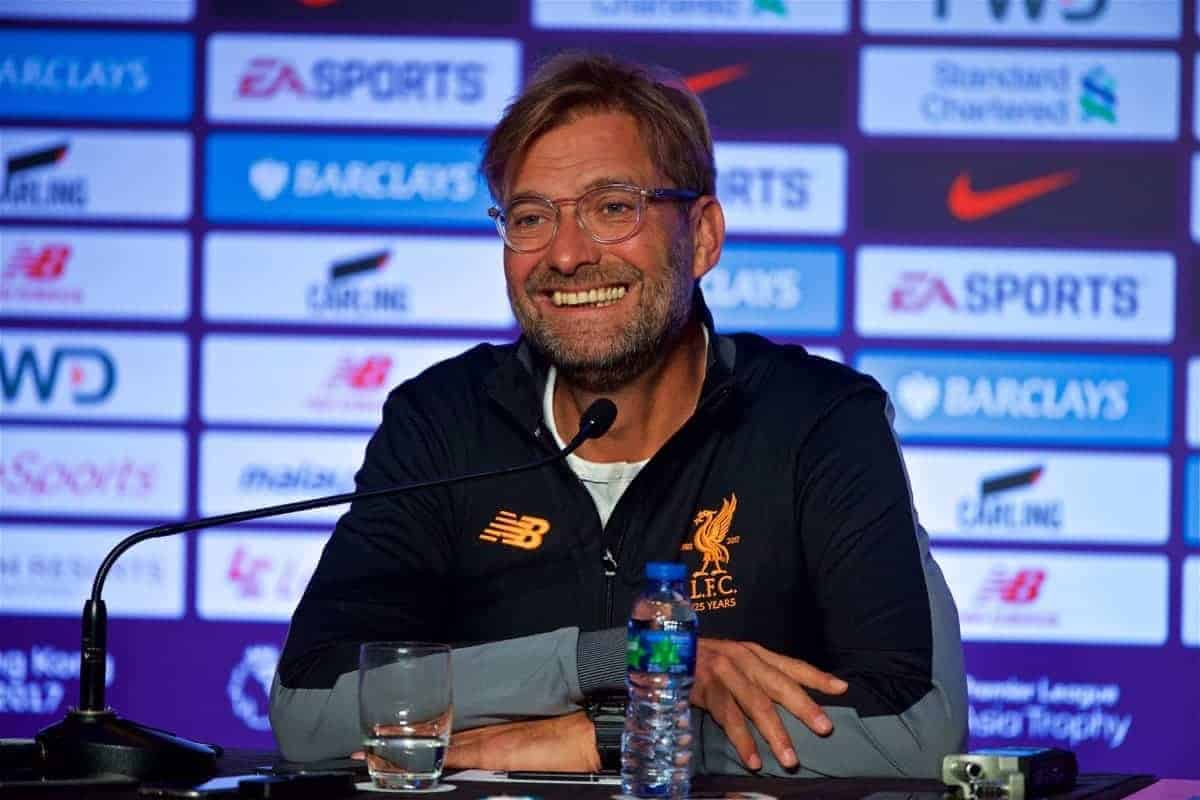 HONG KONG, CHINA - Tuesday, July 18, 2017: Liverpool's manager J¸rgen Klopp during a press conference at the Grand Hyatt Hotel Hong Kong ahead of the Premier League Asia Trophy 2017. (Pic by David Rawcliffe/Propaganda)
