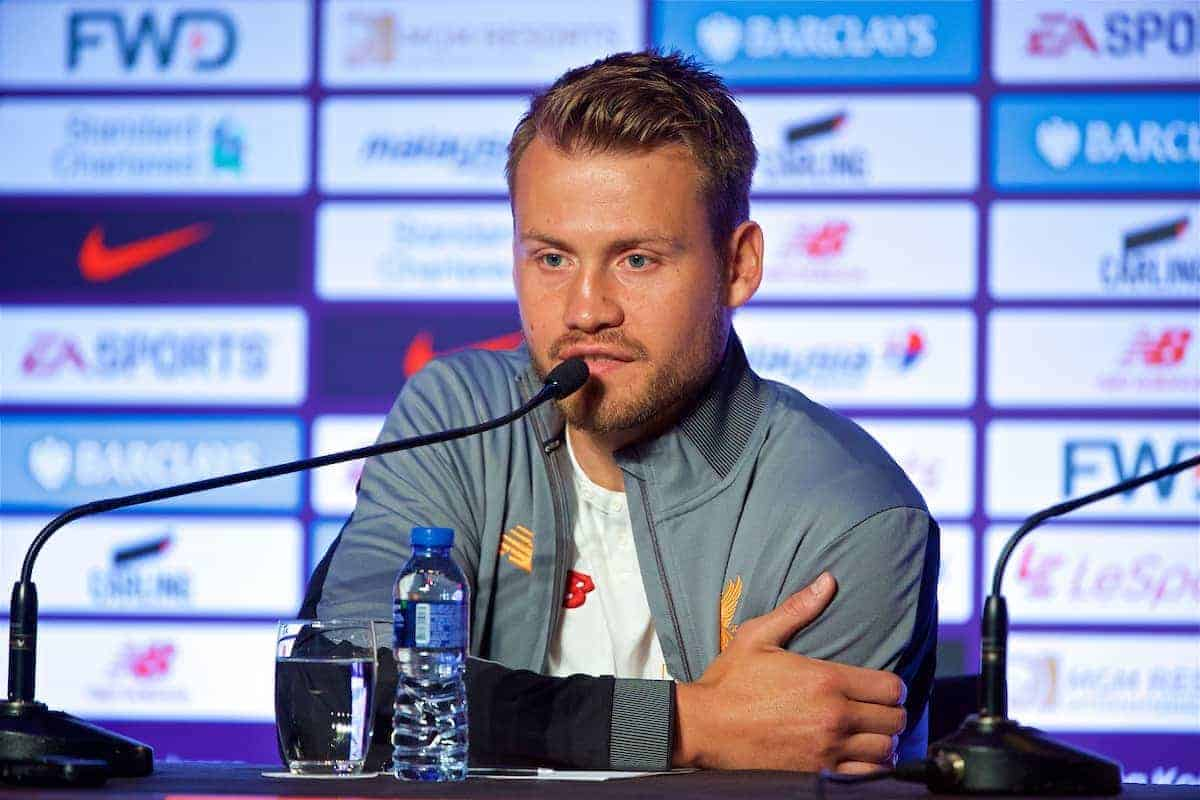 HONG KONG, CHINA - Tuesday, July 18, 2017: Liverpool's goalkeeper Simon Mignolet during a press conference at the Grand Hyatt Hotel Hong Kong ahead of the Premier League Asia Trophy 2017. (Pic by David Rawcliffe/Propaganda)