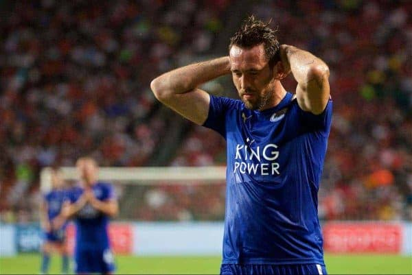 HONG KONG, CHINA - Wednesday, July 19, 2017: Leicester City's Christian Fuchs looks dejected after missing a chance against West Bromwich Albion during the Premier League Asia Trophy match between Leicester City and West Bromwich Albion at the Hong Kong International Stadium. (Pic by David Rawcliffe/Propaganda)