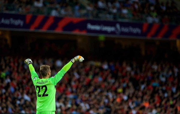 HONG KONG, CHINA - Wednesday, July 19, 2017: Liverpool's goalkeeper Simon Mignolet during the Premier League Asia Trophy match between Liverpool and Crystal Palace at the Hong Kong International Stadium. (Pic by David Rawcliffe/Propaganda)