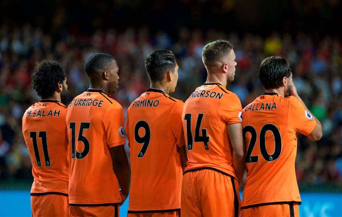 HONG KONG, CHINA - Wednesday, July 19, 2017: Liverpool's Mohamed Salah, Daniel Sturridge, Roberto Firmino, captain Jordan Henderson and Adam Lallana line-up for a defensive wall during the Premier League Asia Trophy match between Liverpool and Crystal Palace at the Hong Kong International Stadium. (Pic by David Rawcliffe/Propaganda)